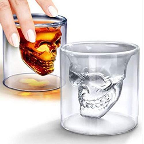Offershop - Vaso de Cristal Cráneo Calavera 75 ml para Whisky, Vodka, Licor, Ron, Cóctel, Rum,...