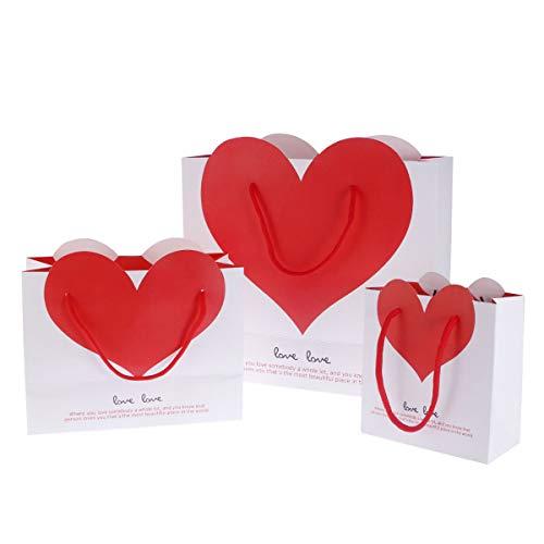 BESTOYARD 手提げ袋 紙袋 ハート型 ギフトバッグ ラッピング袋 可愛い プレゼント袋 誕生日 三つサイズ 3個セット