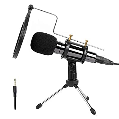 PC microphone with stand Tdbest 3.5mm jack computer microphone Professional Condenser Microphone Plug and Play,Recording Microphone for Youtube MSN Facebook Skype Online Chatting Gaming Podcasting