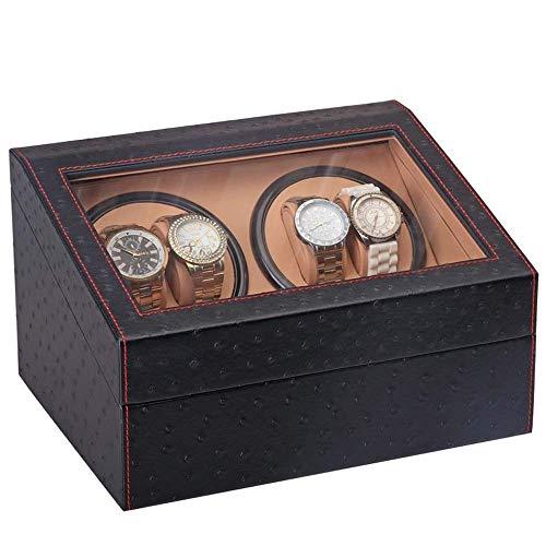 NBVCX Inicio Accesorios Enrollador de Relojes Caja de Regalo Soporte de exhibición Moda Silencioso/Caja/Caja de Almacenamiento Batido de Fibra de Carbono Negro para Relojes 4 + 6 con Cerradura y esca