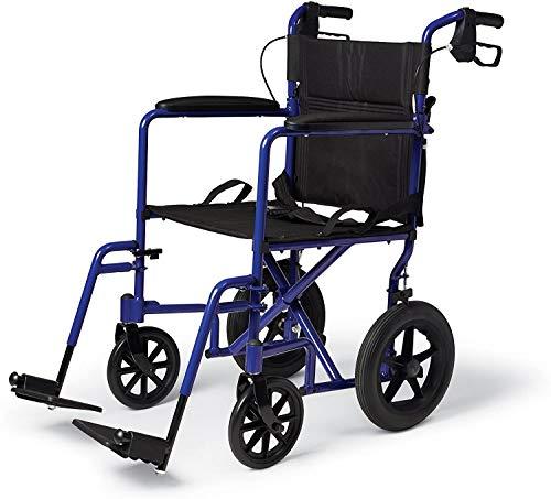ZTKBG Ligera Transporte Silla de Ruedas con Hand Brakes, Silla de Transporte Plegable for Adultos Tiene 12 Pulgadas Ruedas, Azul