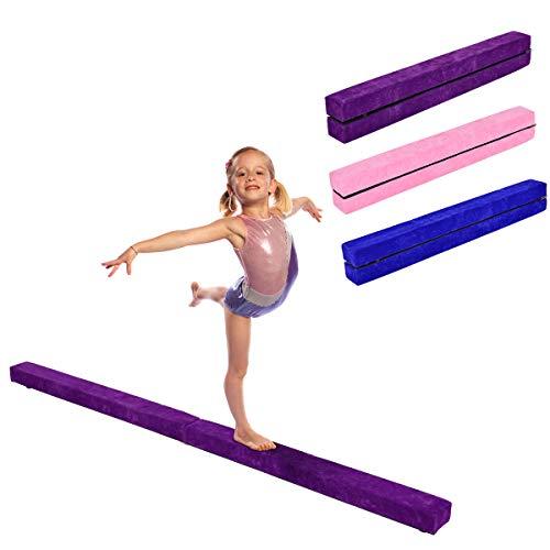 RELAX4LIFE Schwebebalken Kinder 210 cm, Balancierbalken zusammenfaltbar, Balance Beam Klappgymnastik mit Rutschfester Basis, Übungsbalken mit Einbauscharniere & Schaumstoff(Lila)