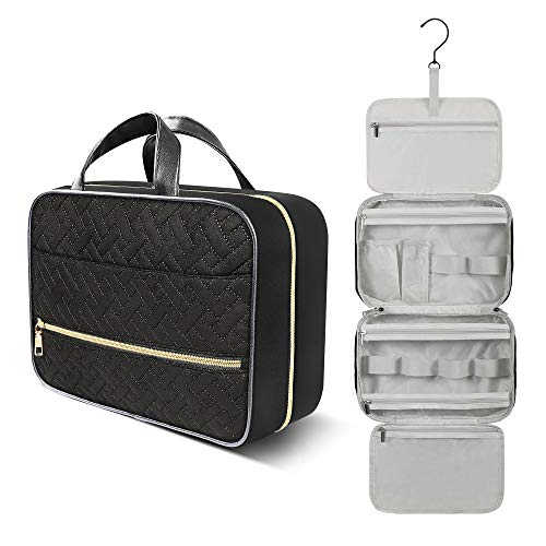 Toiletry Bag for Women and Men, Waterproof Makeup Bag Organizer with Hidden Hanging Hook, Bathroom Shower Travel Cosmetic Bag for Toiletries, Makeup, Accessories (Medium Black)