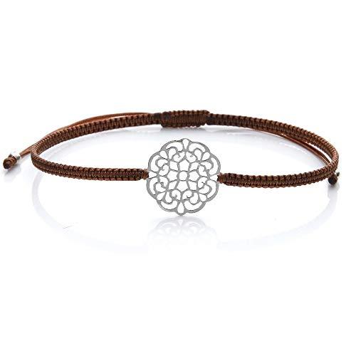 Tara Damen Armband Mandala echtes Silber 925 Macramee Fairtrade Farbe Braun
