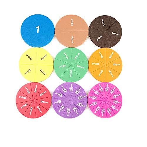 51PCS Montessori Mathe Spielzeug Bruchrechnung zum Rechnen lernen, Brüche Üben für Schulkinder und Angehende Bruchrechenteile Lernspielzeug