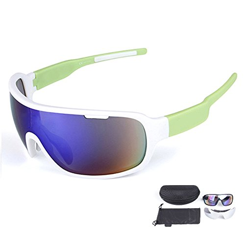 Lorsoul Polarized Sports Cycling Sunglasses Bike Glasses for Men Women Running Driving Fishing Golf Baseball Racing Ski Goggles (White/Green)
