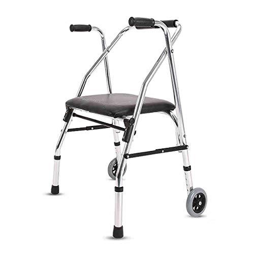 FKDEWALKER Aluminium Folding Walking Frame,Walking Mobility Aid,Wheeled Walker with seat