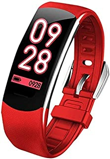 Gymqian Fitness Tracker Smart Fitness Tracker Fitness Watch Pulsera Inteligente, C4 Plus Impermeable Fitness Tracker Sports Smart Bracelet Sport Fitness Tracker Exquisito/Rojo