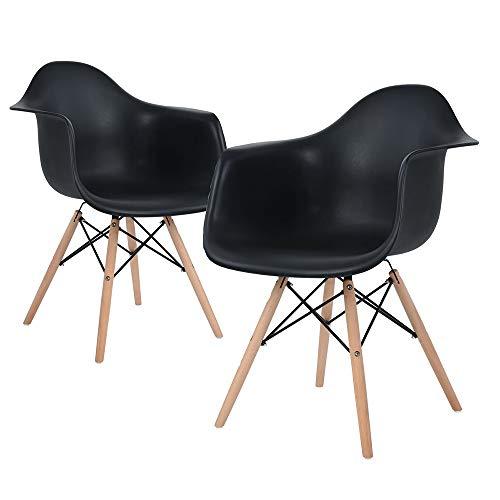 Flyelf 2 x Esszimmerstuhl,Retro Design Stühle Sessel Lounge Kunststoff Stuhl mit Massivholz Buche Bein für Küche, Büro, Konferenzzimmer (2 Stühle/Schwarz)