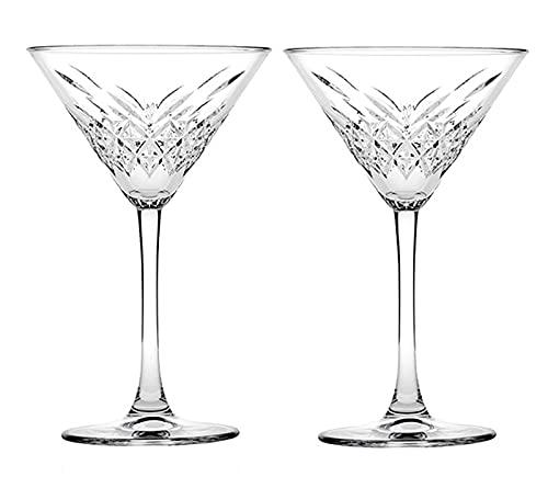 DDTT Juego de 2 Vasos de cóctel de Martini, Vasos de Cristal clásicos sin Plomo de 7.7 oz para el hogar, restaurantes y Fiestas