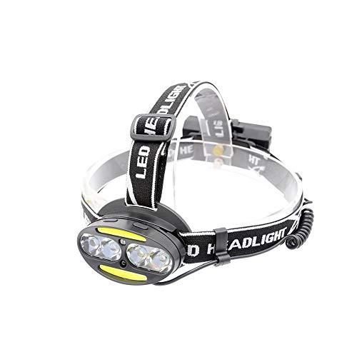 RongWang Linterna Frontal Super Brillante Super Lumen 4 * T6 + 2 * COB + 2 * Lámpara De Cabeza LED Roja Linterna Antorcha Lanterna con Cargador De Baterías