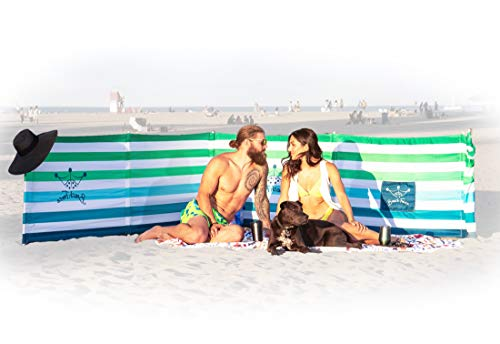 BEACH FENCE 20 ft Beach Windscreen, Privacy Screen, Wind Blocker - Emerald Blue, with Mallet and Carry Bag