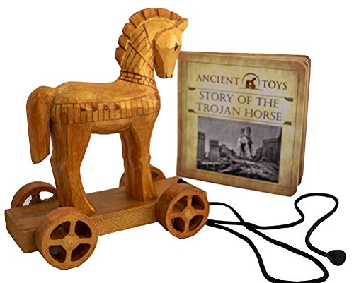 Johnny World - Ancient Toys - Wooden Trojan Horse Pull Toy with Hardcover Book! Teach Children About History Through Interactive Play