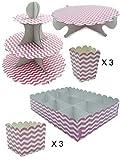 Kadisa Kit Completo Mesa Dulce para Celebraciones, Cumpleaños, Bodas, Comuniones, Fiestas, Candy Bar (Rayas Rosa Pastel)