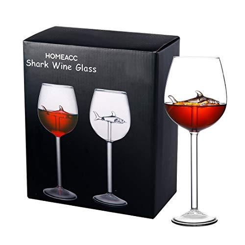 Gennissy, 2 confezioni di calici da vino a forma di squalo, da 10 ml, divertenti bicchieri da vino rosso, per feste in casa, 20,3 x 2,7 cm (altezza x larghezza)