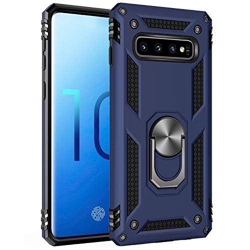 Samsung Galaxy S10 Case, Extreme Protection Military Armor Dual Layer Protective Cover with 360 Degree Unbreakable Swivel Ring Kickstand for Samsung Galaxy S10 Blue