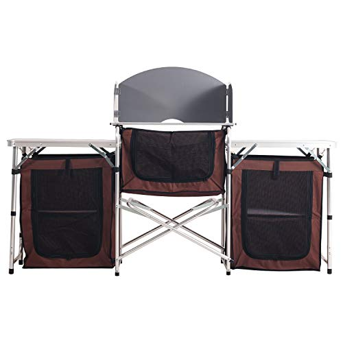 Portable Camping Kitchen Table Multifunctional Camping Kitchen Table Windscreen Camping Table...