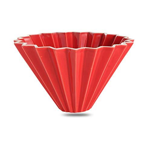 Handgemachte Kaffeefilterbecher, Origami-Kegel-Keramik-Kuchenfilter-Becher Weißer Kaffee-Dripper, Der Natur Kaffeearoma Einfach Zu Bedienen Und Sauber Bleibt red-small