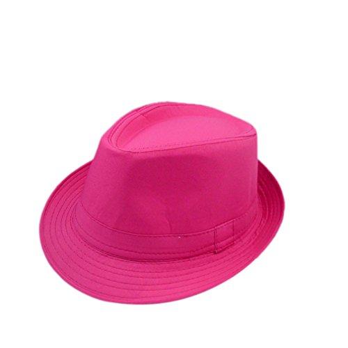 Luck Unisexe Femme Homme Fille Chapeau Panama Tissu de Coton Couleur Pure (Rose)