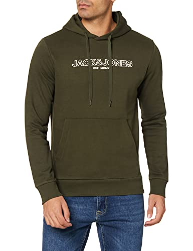 Jack & Jones JJBANK Sweat Hood Sudadera con Capucha, Forest Night, S para Hombre