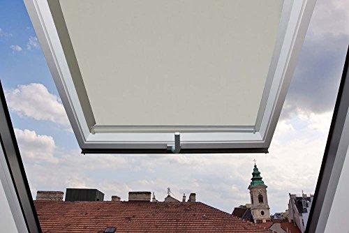 Für Velux Fenster GGU / GGL / GPU / GPL / GHU / GHL / GTU / GTL / GXU / GXL C04 Dachfensterrollo, Verdunkelungsrollos in Hellbeige / Creme - 38,3x74cm (Breite x Länge) - mit seitlichen Führungsschienen aus Aluminium
