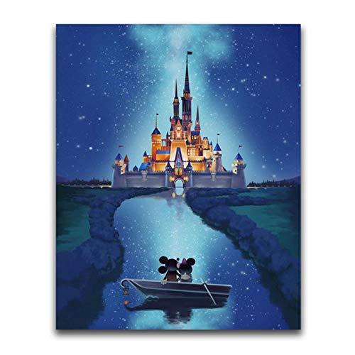 Artaslf Full Diamond Mosaic Mouse Castle 5D DIY Pintura de diamante Cuadrado Completo Punto de Cruz de Diamante, 40 x 50 cm sin marco