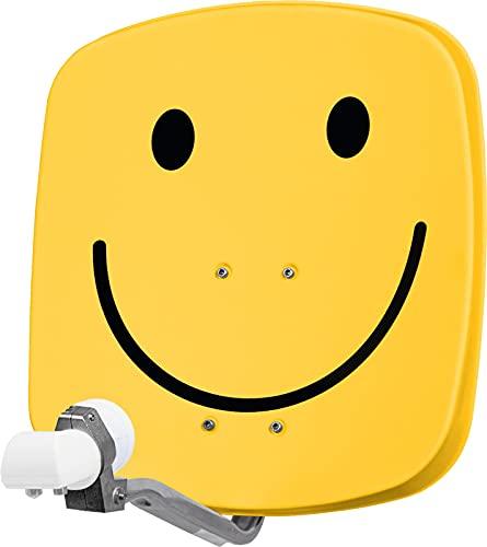 TechniSat DIGIDISH 45 - Satelliten-Schüssel für 2 Teilnehmer (45 cm kleine Sat Anlage - Komplettset mit Wandhalterung und Universal Twin-LNB) smiley-gelb