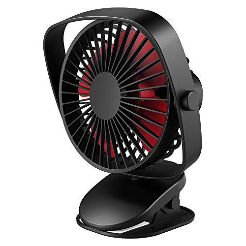 VersionTECH. Mini Ventilador de Mesa con Clip Abrazadera Rotación 360° USB Portátil Silencioso Batería Recargable Incorporada Mini Fan para Oficina/Escritorio/Hogar/Dormitorio/Cama/Cochecito (Negro)