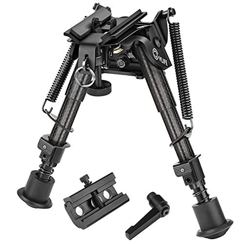 CVLIFE Carbon Fiber Bipod Pivot Bipod 6-9 Inches with Picatinny Adapter Tilt Hunting Bipod Spring Load Notch Legs