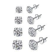 Shuxin Silver Stud Earrings for Women, 4 Pairs 925 Sterling Silver Cubic Zirconia Stud Earrings Set,...