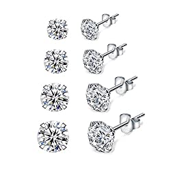 【High Quality Material】: This Stud Earrings are made of 925 Sterling Silver & AAAAA White Clear Cubic Zirconia. High Polished, Platinum Plated. Nickel-free, Hypoallergenic, and Shiny Forever. Perfect to keep as a Daily Jewelry. Our Silver Earrings ar...