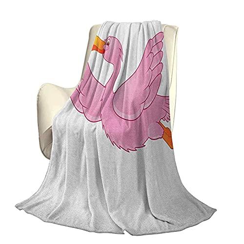 Manta de poliéster de Felpa de Microfibra Naranja y Rosa Patrón de Flamenco Tropical Volador Estilo de Dibujos Animados Ilustración de Animales exóticos High End Lightocho Manta antiestática