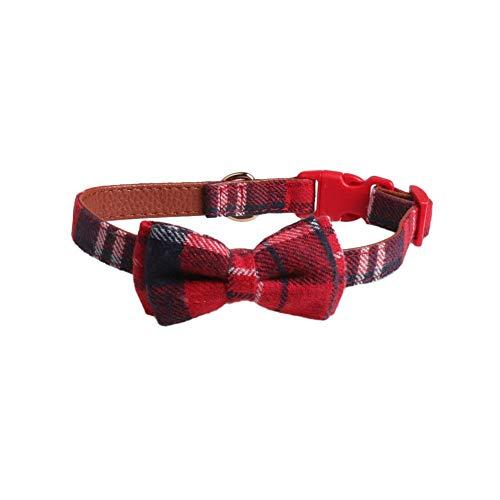 Aimili Collar para mascotas, collar de perro, collar de mascota británico a cuadros, collar de lazo para mascotas, collar de perro personalizado, rojo 2.0 x 30 – 45 cm