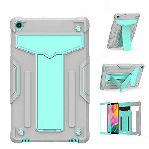 BZN For Samsung Galaxy Tab A10.1 (2019) T510 T-shaped Bracket Contrast Color Shockproof PC + Silicone Flat Protective Case (Color : Grey+Mint Green)