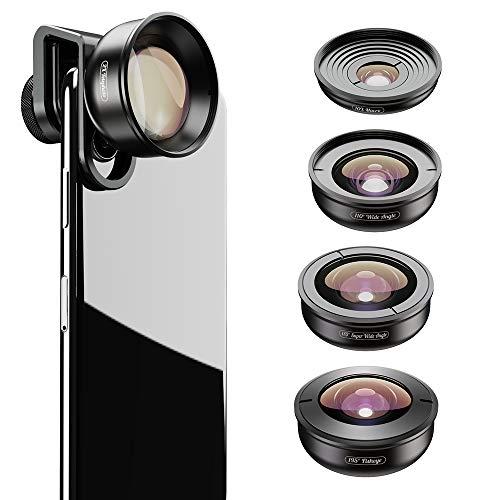 Apexel HD Mobile Phone Camera Phone Lens Set - 10x Macro Lens, 2X Telephoto Lens, 110°Wide Angle, 170°Super Wide Angle, 195°Fisheye for Dual Lens/Single Lens iPhone Pixel Samsung Galaxy Smartphones