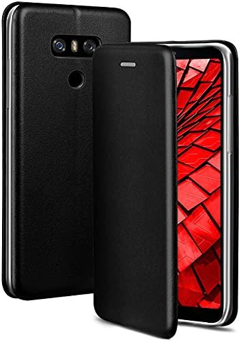 ONEFLOW Handyhülle kompatibel mit LG G6 - Hülle klappbar, Handytasche mit Kartenfach, Flip Hülle Call Funktion, Leder Optik Klapphülle mit Silikon Bumper, Schwarz