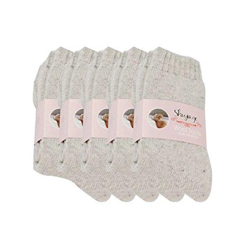 Pluto & Fox Calcetines Térmicas Borrego Gruesos Cálidos De Lana para Mujer Talla 36-40 Color Liso Invierno para Calentar Los Pies O para Trabajos Duros Pack de 5 Pares (Gris)