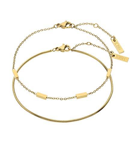 TOSH Trendy 1002532 - Juego de pulseras de acero inoxidable chapado en oro para mujer