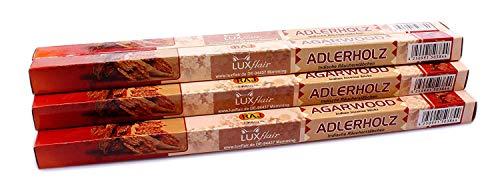 Luxflair Premium Räucherstäbchen Adlerholz/Agarwood, XL Set mit 10 Packungen á 8 Räucherstäbchen (80 Stück), lange Brenndauer von je ca. 45min