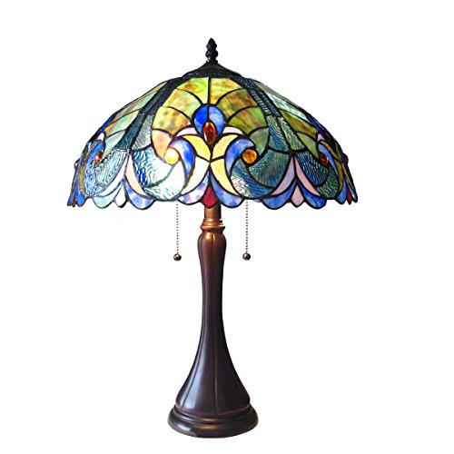 chloe lighting table lamps Chloe Lighting CH16780VT16-TL2 Amor Tiffany-Style Victorian 2-Light Table Lamp with Shade, 21.3 x 15.7 x 15.7