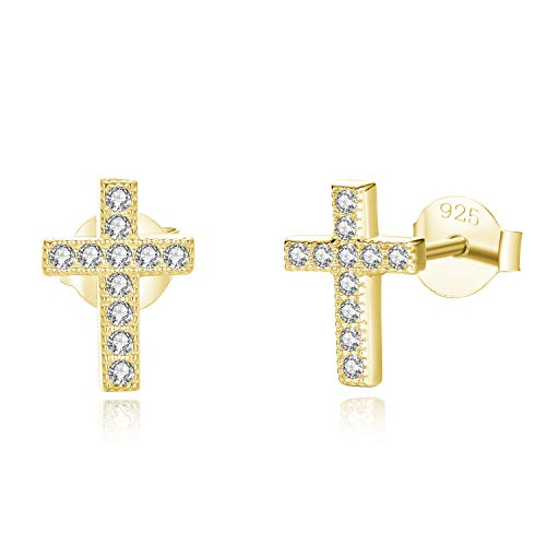 Spoil Cupid 14K Gold Plated 925 Sterling Silver Cubic Zirconia Small Cross Stud Earrings