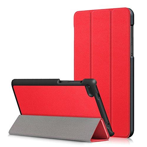 Kepuch Custer Funda para Lenovo Tab 7 Essential TB-7304F TB-7304I TB-7304X,Slim Smart Cover Fundas Carcasa Case Protectora de PU-Cuero para Lenovo Tab 7 Essential TB-7304F TB-7304I TB-7304X - Rojo
