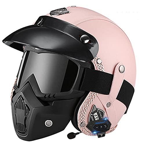 Casco Jet Moto Vintage con un Micrófono Incorporado Anti Niebla Visera Doble ECE/Dot Homologado Adultos Hombres Mujeres Cascos Moto para Electrico Scooter Motocross Patinete