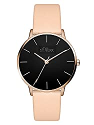 s.Oliver Damen Analog Quarz Armbanduhr mit Leder Armband SO-3527-LQ