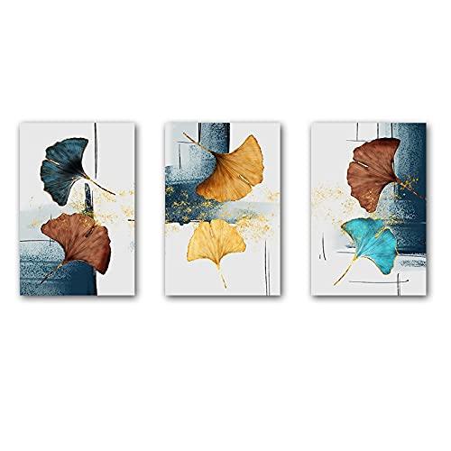 Pintura en lienzo de lujo Ginkgo Biloba Leaf Arte de la pared Azul Marrón Botánicos e impresiones Modernos para la decoración de la sala de estar 23.6 'x31.4' (60x80cm) 3 piezas Sin marco