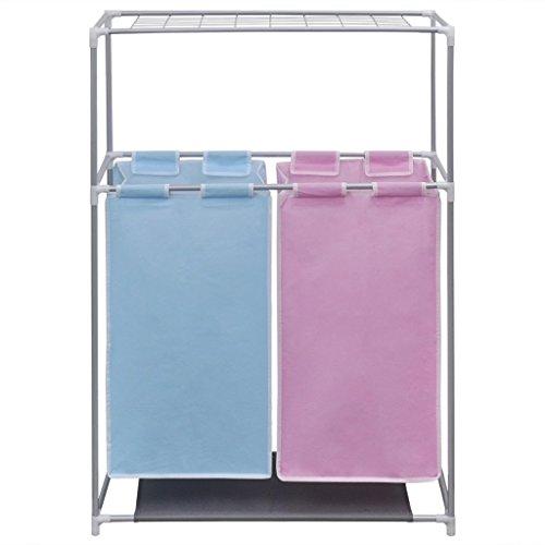 Festnight Organizador de 2 Secciones para Ropa Sucia Color Rosa Azul