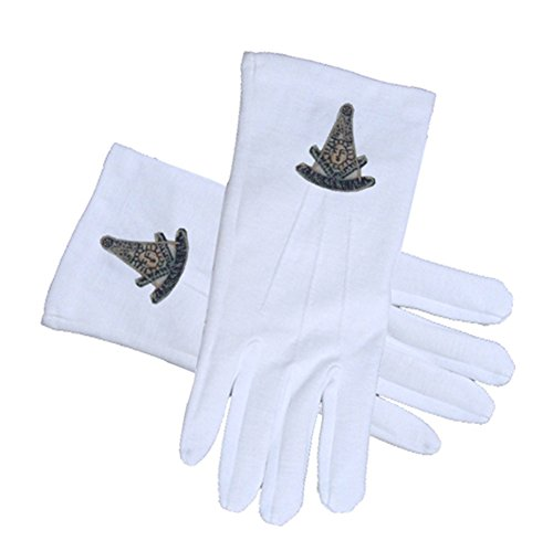 Masonic Past Master Ancient Compass Face Cotton Gloves - White (One Size Fits Most). Masonic Regalia Clothing and Formal Attire. (One Size Fits Most)