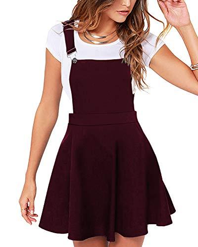 YOINS Rock Damen Mädchen Minirock Kawaii A Linie Mini Skater Rock Kleider für Damen Minikleid Skaterkleid,Pinafore Kleid-rotwein,L