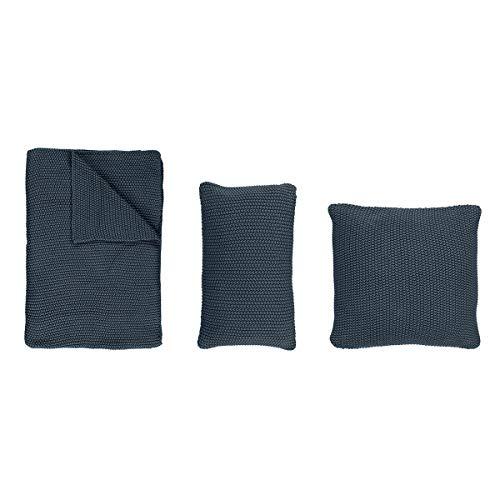 Marc O Polo Strick Dekokissen Plaid Nordic Knit Smoke Blue Dekokissen 50x50 cm