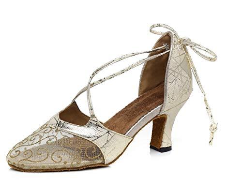 Hanfike Zapatos de fiesta de boda para mujeres bombas de noche de lazo de encaje de malla, Gold, 37.5 EU
